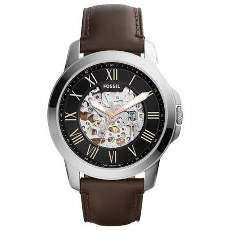FOSSIL 流逝歲月經典機械錶-銀框黑x深咖皮帶