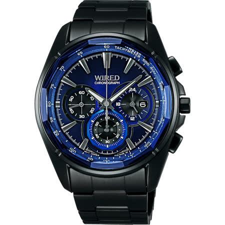 WIRED 東京潮流時尚三眼計時腕錶-藍x黑/42mm 7T12-X002B(AW8011X1)