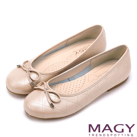 MAGY 清新氣質系女孩 蝴蝶結菱格縫線娃娃鞋-粉紅