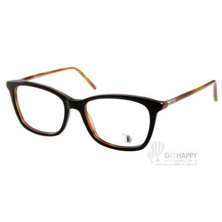 TOD'S眼鏡 經典潮流款(黑-棕) #TOD5110 005