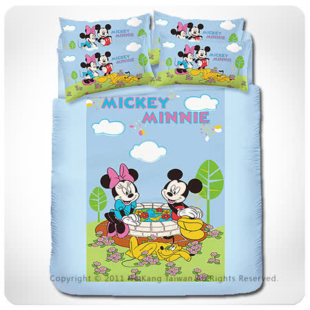 【VIVI-ANI】迪士尼經典卡通【米奇米妮-約會篇】單人被套床包組-藍