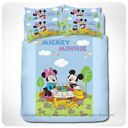 【VIVI-ANI】迪士尼經典卡通【米奇米妮-約會篇】雙人被套床包組-藍