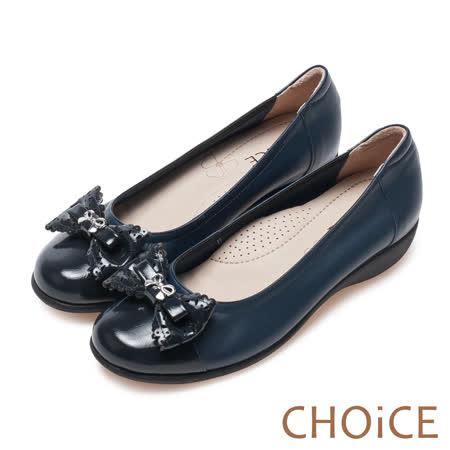 CHOiCE Q軟舒適優雅 皮革打洞蝴蝶結坡跟鞋-深藍