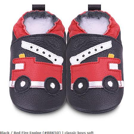 英國 shooshoos 安全無毒真皮手工鞋/學步鞋/嬰兒鞋_黑色消防車(公司貨)