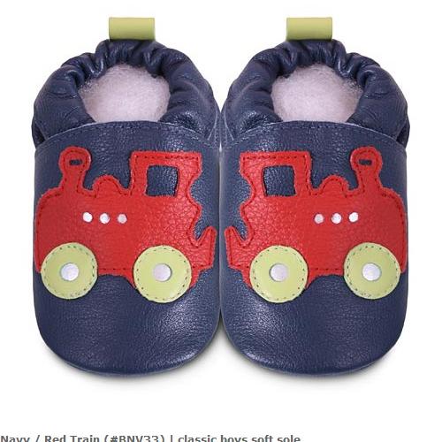 英國 shooshoos 安全無毒真皮手工鞋/學步鞋/嬰兒鞋_海軍藍紅色火車(公司貨)