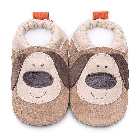 英國 shooshoos 安全無毒真皮手工鞋/學步鞋/嬰兒鞋_麂皮小狗狗(公司貨)