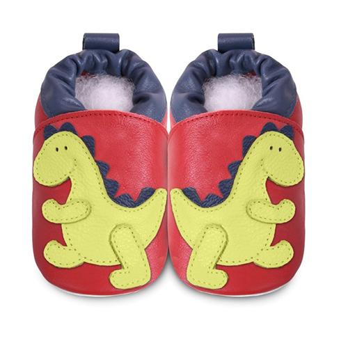 英國 shooshoos 安全無毒真皮手工鞋/學步鞋/嬰兒鞋_紅色/綠恐龍(公司貨)