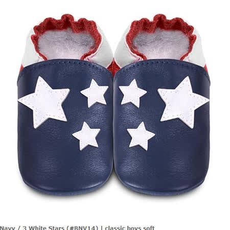 英國 shooshoos 安全無毒真皮手工鞋/學步鞋/嬰兒鞋_海軍藍/白色小星星(公司貨)