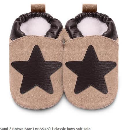 英國 shooshoos 安全無毒真皮手工鞋/學步鞋/嬰兒鞋_棕色大星星(公司貨)(麝皮)