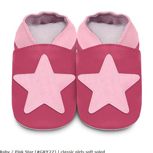 英國 shooshoos 安全無毒真皮手工鞋/學步鞋/嬰兒鞋_桃紅大星星(公司貨)