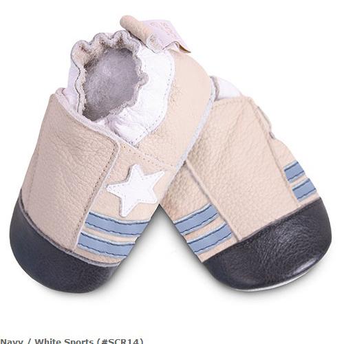 英國 shooshoos 安全無毒真皮手工鞋/學步鞋/嬰兒鞋_米色小星星(公司貨)