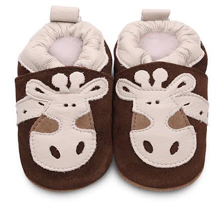 英國 shooshoos 安全無毒真皮手工鞋/學步鞋/嬰兒鞋_棕色/米白長頸鹿(公司貨)