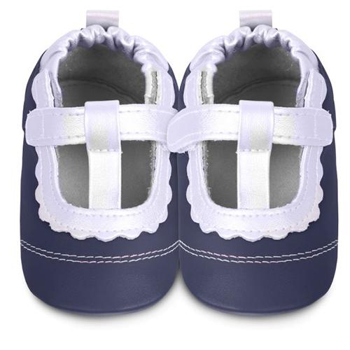 英國 shooshoos 安全無毒真皮手工鞋/學步鞋/嬰兒鞋_海軍藍/銀白T飾條(公司貨)
