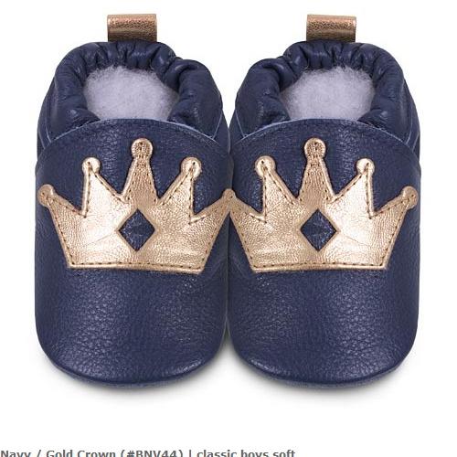 英國 shooshoos 安全無毒真皮手工鞋/學步鞋/嬰兒鞋_海軍藍/金色皇冠(公司貨)