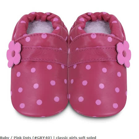 英國 shooshoos 安全無毒真皮手工鞋/學步鞋/嬰兒鞋_桃粉點點(套)(公司貨)