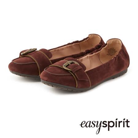Easy Spirit 成熟簡約柔軟皮革釦飾平底鞋--酒紅色