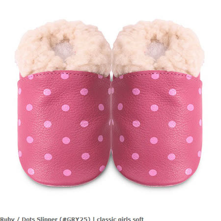 英國 shooshoos 安全無毒真皮手工鞋/學步鞋/嬰兒鞋_桃紅點點毛毛(公司貨)