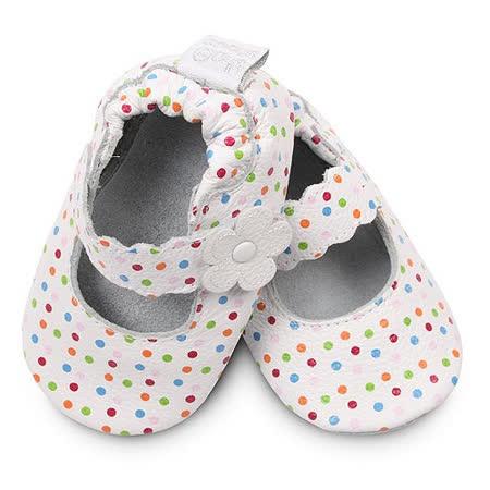 英國 shooshoos 安全無毒真皮手工鞋/學步鞋/嬰兒鞋_白色繽紛點點小花(公司貨)