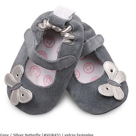 英國 shooshoos 安全無毒真皮手工鞋/學步鞋/嬰兒鞋_灰色銀蝴蝶(公司貨)