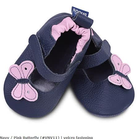 英國 shooshoos 安全無毒真皮手工鞋/學步鞋/嬰兒鞋_海軍藍小蝴蝶(公司貨)