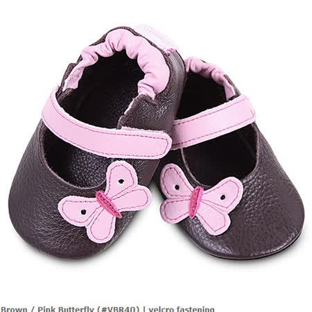 英國 shooshoos 安全無毒真皮手工鞋/學步鞋/嬰兒鞋_棕色/粉蝴蝶(公司貨)