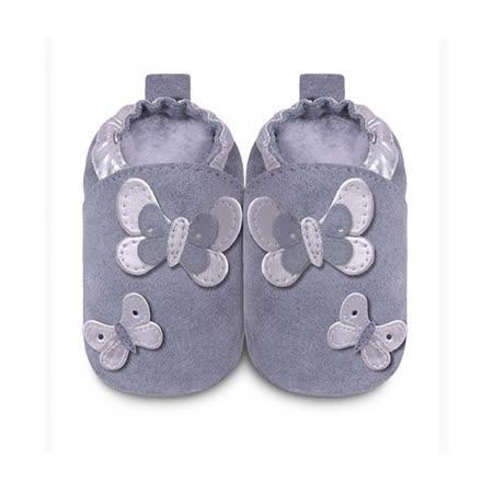 英國 shooshoos 安全無毒真皮手工鞋/學步鞋/嬰兒鞋_紫灰銀色蝴蝶群(公司貨)