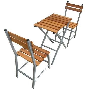 【環球】台灣製造[實心樟木]戶外餐桌椅組(一桌二椅)