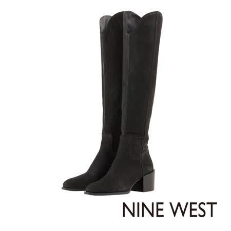 NINE WEST--皮革完美靴緣切口中跟長靴--獨特黑