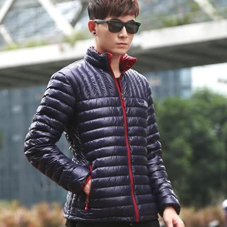 【STONEY.AX】9010白鴨羽絨韓版輕薄修身保暖男外套-深藍色