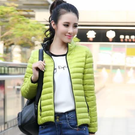 【STONEY.AX】9010白鴨羽絨韓版輕薄修身保暖女外套-螢光綠