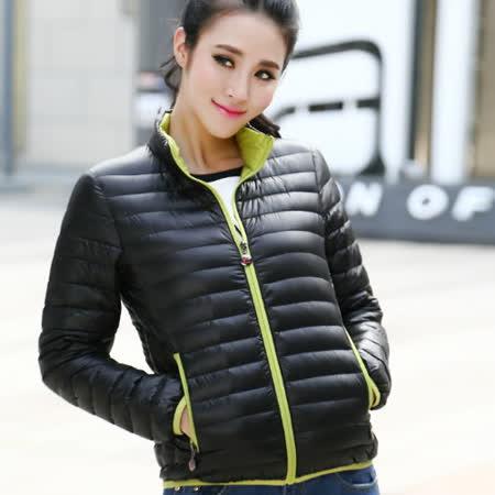 【STONEY.AX】9010白鴨羽絨韓版輕薄修身保暖女外套-黑色