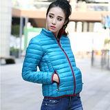【STONEY.AX】9010白鴨羽絨韓版輕薄修身保暖女外套-藍色