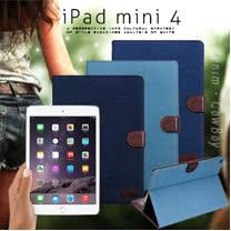 VXTRA for Apple iPad mini 4 率性牛仔 超薄支架保護套 平板皮套