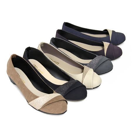 【Pretty】熱銷款金蔥拼接楔型低跟鞋