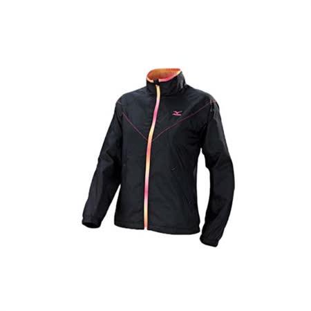 (女) MIZUNO 風衣外套-路跑 慢跑 運動風衣  黑粉橘