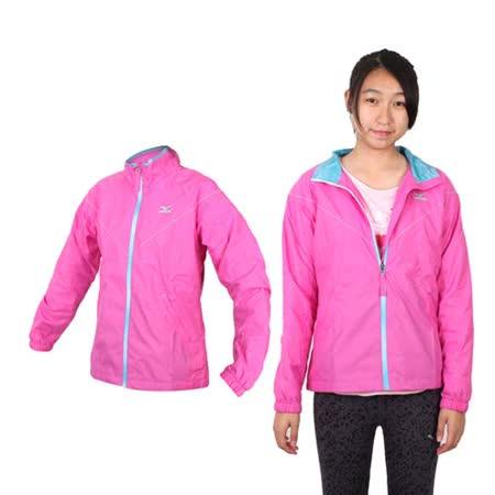 (女) MIZUNO 風衣外套-路跑 慢跑 運動風衣  亮粉紅藍