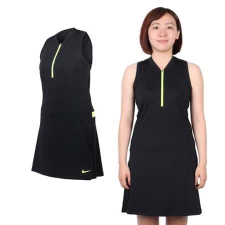 (女) NIKE GOLF 快速排汗連衣裙- 附短褲 高爾夫 運動 黑螢光黃