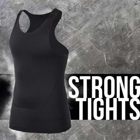 (男) INSTAR PRO 緊身背心 -台灣製 慢跑 路跑 健身 重訓 無袖緊身衣 黑