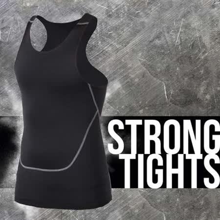 (男) INSTAR PRO 緊身背心 -台灣製 慢跑 路跑 健身 重訓 無袖緊身衣 黑灰