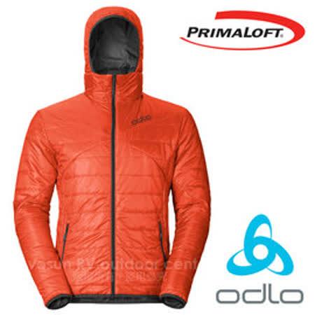 【瑞士 ODLO】男 新款 primaloft 長效保暖防風防潑水保暖外套(雙面穿)科技羽絨/超輕量透氣排汗(非arc'teryx) 525162 橘紅/墨灰