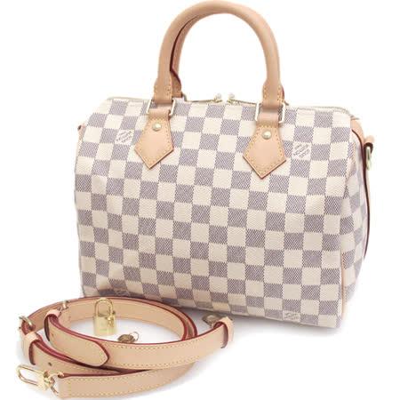 【好物分享】gohappy快樂購物網Louis Vuitton LV N41374 Speedy 25 白棋盤格紋附斜背帶手提包(附銷組)_預購評價如何愛 買 電子 發票