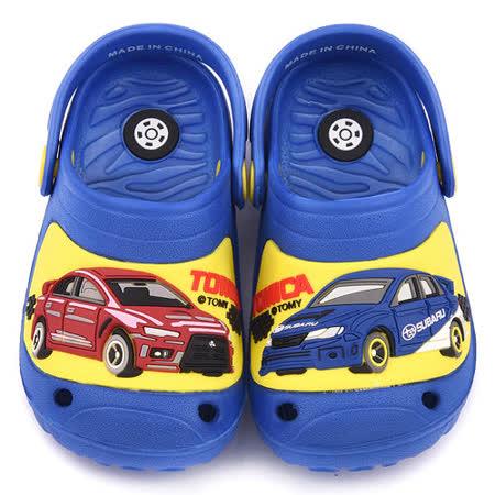 童鞋城堡-Tomica多美汽車 中童 不對稱造型輕量花園鞋TM0886-藍