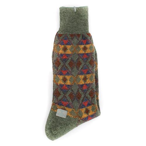 KENZO 菱格紋刺繡紳士襪~灰綠色