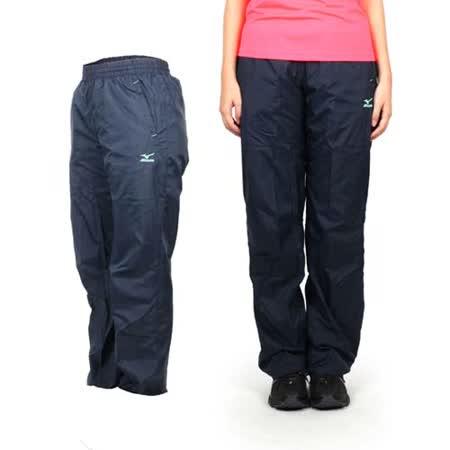 (女) MIZUNO 防風長褲 - 刷毛 路跑 慢跑 運動 健身 美津濃 丈青淺綠