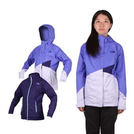 (女) THE NORTH FACE HV HS兩件式外套-立領 防風 保暖 芋紫藍