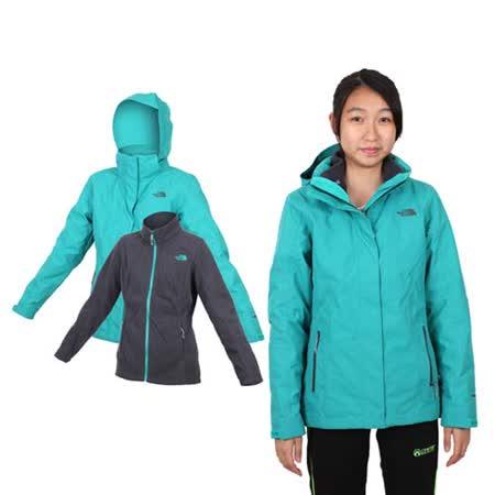 (女) THE NORTH FACE HV刷毛兩件式外套 - 登山 露營 湖水綠
