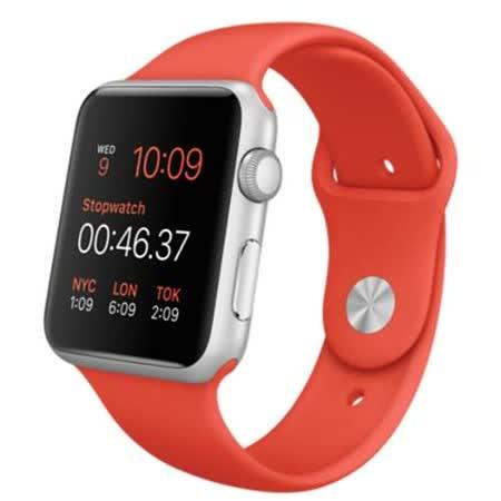 Apple WATCH SPORT 42mm/42公釐 A 銀色鋁金屬錶殼 橙色運動型錶帶【含螢幕保護貼+專用錶套】(MLC42TA/A)