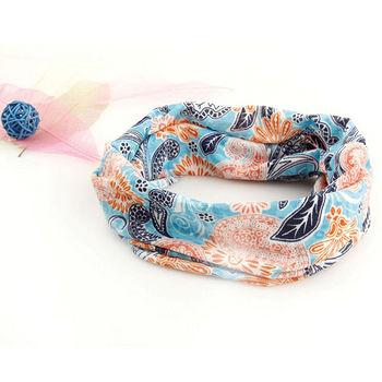 韓式緹花布百變頭巾-藍色