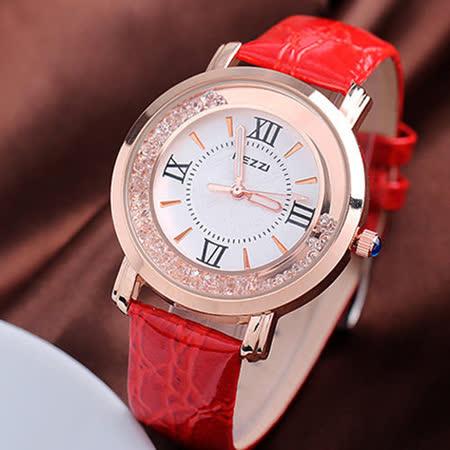 【KEZZI 】創意流沙晶鑽皮革腕錶-紅 FFQ-747