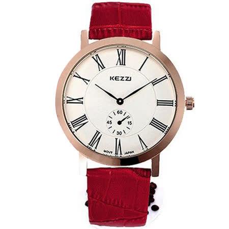 【KEZZI】經典超薄簡約復古皮革錶 FFQ-845